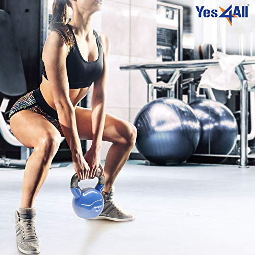 Yes4All Vinyl Coated Kettlebell Weights, Weight Available: 5, 10, 15, 20, 25, 30, 35, 40, 45, 50 Lb – Strength Training…