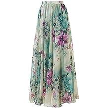 Pretchic Women's Blossom Floral Print Chiffon African Maxi Long Skirt