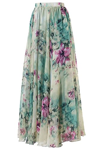 - Pretchic Women's Blossom Floral Print Chiffon African Maxi Long Skirt Light Green X-Large