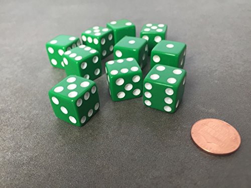 Set of 10 Six Sided D6 16mm Standard Dice Die - Green with White Pips