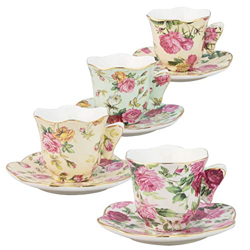Gracie China Rose Chintz 2-Ounce Porcelain Espresso Cup and Saucer with Butterfly Handles, Set of ()