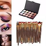 Kwok 15 Colors Contour Face Cream Makeup Concealer Palette Professional + 20 Brush