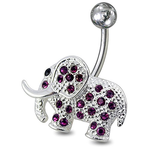 PiercingPoint Purple Crystal Stone Multi Crystal Elephant 925 Sterling Silver with Stainless Steel Belly Button Navel Rings
