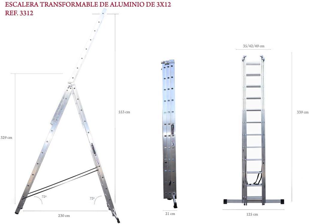 ALTIPESA Escalera Profesional de Aluminio Triple Tijera un Acceso con Tramo Extensible 3 x 12 peldaños Serie Triple: Amazon.es: Hogar