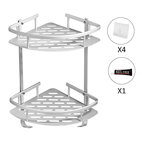 LOBKIN Sin Necesidad de Taladrar Estante Ducha, Estantes de Baño de Aluminio Espacial Perforado Entramado de Baño Muebles de Baño (Plata)
