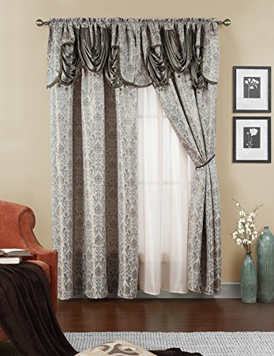 Elegant Home Beautiful Window Curtain Drapes All-in-One Set with Attached Valance & Sheer Backing for Living Room, Bedroom, Dining Room, and Sliding Doors (No Tie Back) - Ehjen (Taupe)