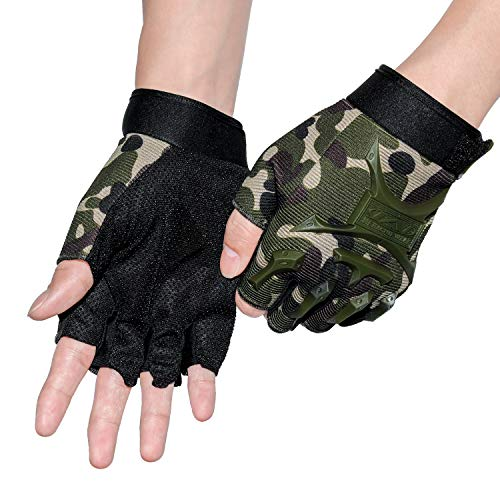 - ACVCY Fingerless Gloves for Kids,Non-Slip Classic Fingerless Cycling Gloves Finger Mountain Bike Bicycle Riding Outdoor Gloves (Camo)