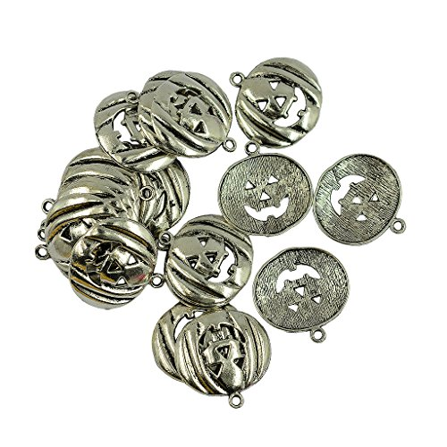 (Jili Online Vintage Antique Silver Pumpkin Charms Pendants Beads Necklace Bracelet Jewelry Findings DIY Crafts Pack of 20)