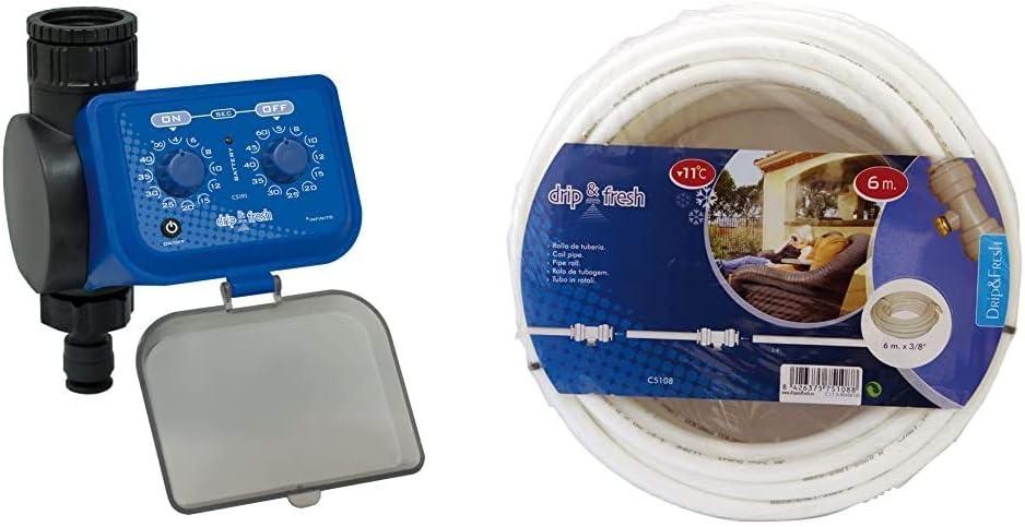 Drip&Fresh Drip & Fresh C5191 - Programador de Nebulización por Segundos - Apertura y Cierre por Membrana Rollo de tubería Blanca con Tratamiento Anti UV, 6 m, C5108