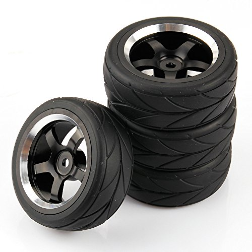 SkyQ 1/10 Scale On Road Car RC Tyre Tires 5 Spoke Aluminum Wheels for HSP HPI Racing Car Pack of 4