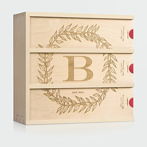Wedding Wine Box - Monogram Cottage // Personalized Wedding Gift for the Couple - Patented WineforaWedding® Anniversary Wine Box