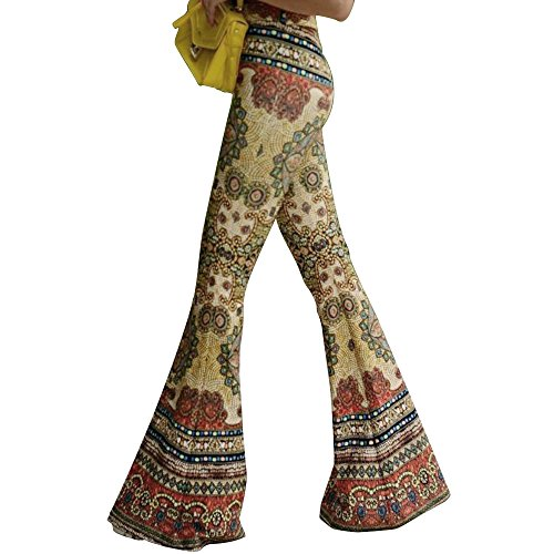 GUOLEZEEV Women Boho Print Stretch Bell Bottom Flare Palazzo Pants Trousers Yellow M ()