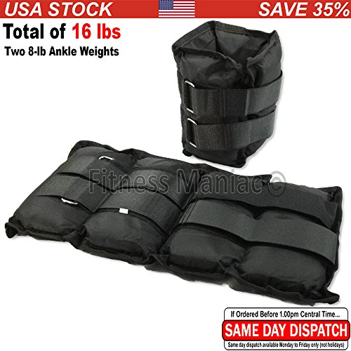 New Ankle Weight Adjustable Strap Wrist Weights 16 Lbs (2 X 8 Lbs) Ankle Weights US Seller (Shipping from USA)