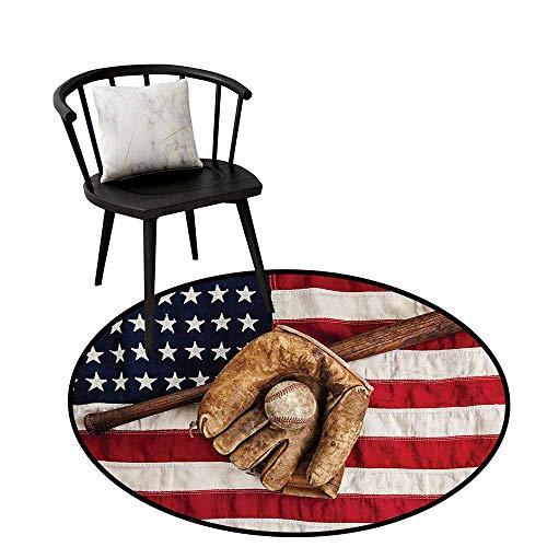 (Flexible Round Rug Sports Decor Can be Folded Vintage Baseball League Equipment with USA American Flag Fielding Sports Theme Brown Red Blue D16(40cm))