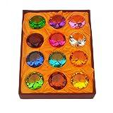 Gift Box Set 12 Beautiful Birthstones Paperweight Glass Diamond + Free Red String Bracelet Sku: X9003