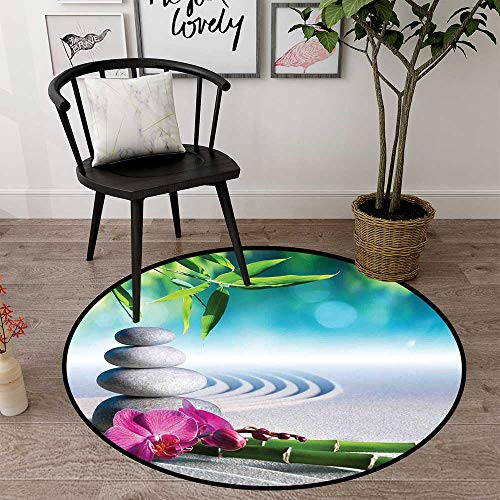 Circularity mat for Nursery Round Indoor Floor mat Entrance Circle Floor mat for Office Chair Wood Floor Circle Floor mat Office Round mat for Living Room Pattern 2'7' Diameter