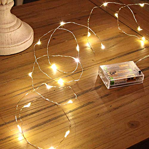 CAOLATER String Lights Mini Battery Powered Copper Wire Starry Fairy Lights, Battery Operated Lights for Bedroom, Christmas Parties Wedding Decoration (10m/16ft Warm White)