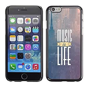 Be Good Phone Accessory // Dura Cáscara cubierta Protectora Caso Carcasa Funda de Protección para Apple Iphone 6 // Music Is Life New York Text Purple Fog
