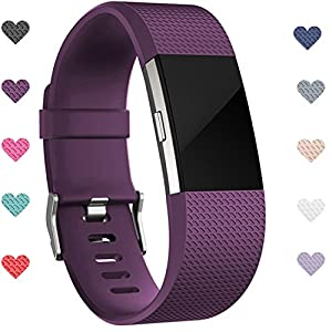 Wepro Fitbit Charge 2 bands, Replacement for Fitbit Charge 2 HR Bands, Buckle, Plum, Large