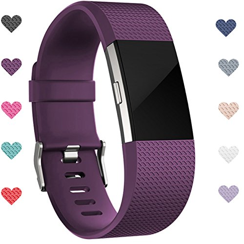 Wepro-Fitbit-Charge-2-bands-Replacement-for-Fitbit-Charge-2-HR-Bands-Buckle-Plum-Large