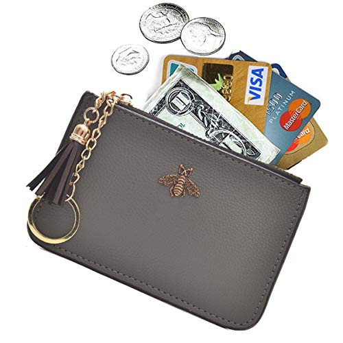 AnnabelZ Coin Purse Change Wallet Pouch Leather Card Holder with Key Chain Tassel Zip(Grey) -