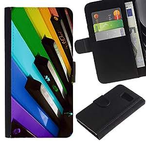 KingStore / Leather Etui en cuir / Samsung Galaxy S6 / Llaves del piano Colorful