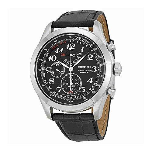 Seiko Perpetual Calendar Watch (Seiko Neo Classic Chronograph Black Dial Black Leather Mens Watch SPC133)