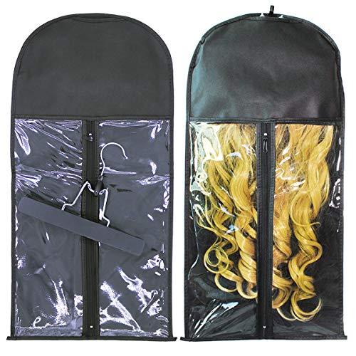 Hair Extensions Hanger Bag, Hair Extension Storage Bag, Wig Storage Bag, Hanger Strong Holder,Wig Carrier case with Transparent Zip Up Closure- Lightweight, Waterproof and Wooden Hanger