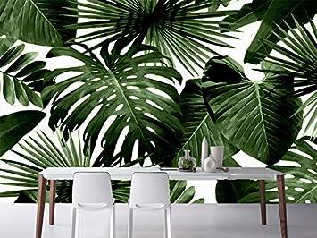 Fototapete 3d Wallpaper Palm Blätter Fototapete Retro Tropischer Regenwald Palme Bananenblätter Wandbild Cafe Hotel Hintergrund Fresken 200cmx140cm Baumarkt