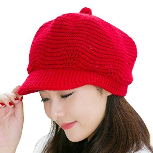 (Amiley Women Knitted Slouchy Visor Hat Braided Baggy Beanie Ear Warmer Cap (Red))
