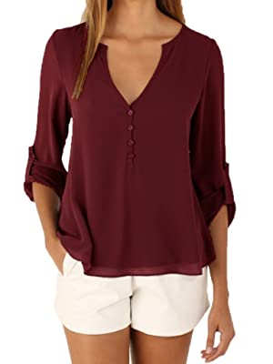 Toyobuy Women Cuffed Long Sleeve Blouse Top V-Neck Chiffon Shirt Wine Red S