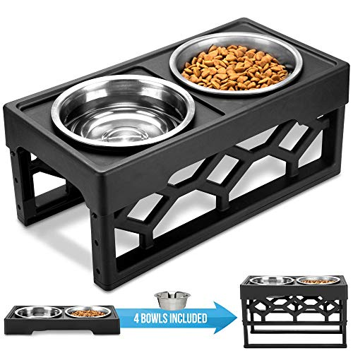 AVERYDAY Raised Dog Bowls Dog Dishes Elevated with 4 Stainless Steel Dog Bowls & 4 Adjustable Heights Elevated Dog Bowls. Large Capacity Dog Food Bowl is Perfect for Large and Senior Dog