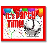 BASEBALL Party INVITATIONS (Red, 4.25''x5.5'') 12-PACK Postcard Party Invitation Stationery for players, coaches and fans birthday parties, team parties and special events! #AllProfitsToHelpKids