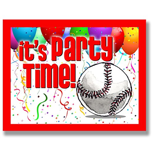 BASEBALL Party INVITATIONS (Red, 4.25