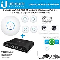 Ubiquiti UAP-AC-PRO-5 Pack Access Point + TS-8-PRO 8 Gigabit TOUGHSwitch PRO PoE