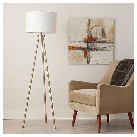 Tripod Floor Lamp Antique Brass Includes Cfl Bulb Threshold