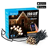 Brizled Dimmable Christmas Lights, 200 LED 65ft Smart Christmas Lights, Bluetooth Mini LED Lights Controlled by iOS & Android Devices, Ideal for Mothers Day, Party and Wedding Decorations, Warm White