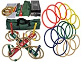 MABUA 1 Game Set 25 Ring Toss Ropes Indoor Outdoor Hookem Horseshoe Yard Kids Adults 10 Quoits, 15 Plastic Carry Bag. Toys Children Boys Girls