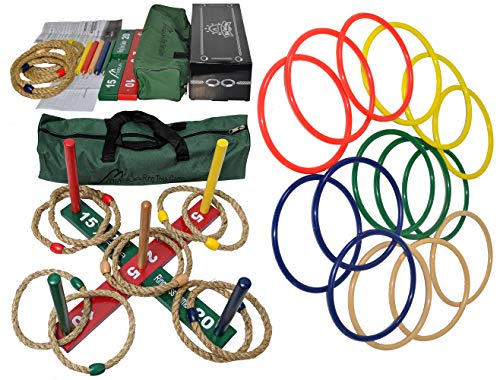 MABUA 1 Game Set 25 Ring Toss Ropes Indoor Outdoor Hookem Horseshoe Yard Kids Adults 10 Quoits, 15 Plastic Carry Bag. Toys Children Boys Girls by MABUA