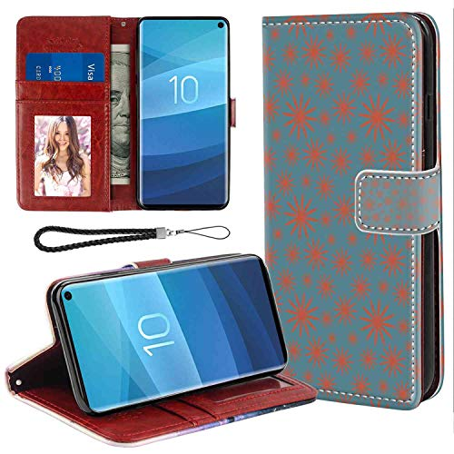 - Samsung Galaxy S10 Wallet Case, Floral Retro Vintage 60s 50s Inspired Flower on a Blue Tone Backdrop Image Petrol Blue Dark Coral PU Leather Folio Case with Card Holder and ID Coin Slot