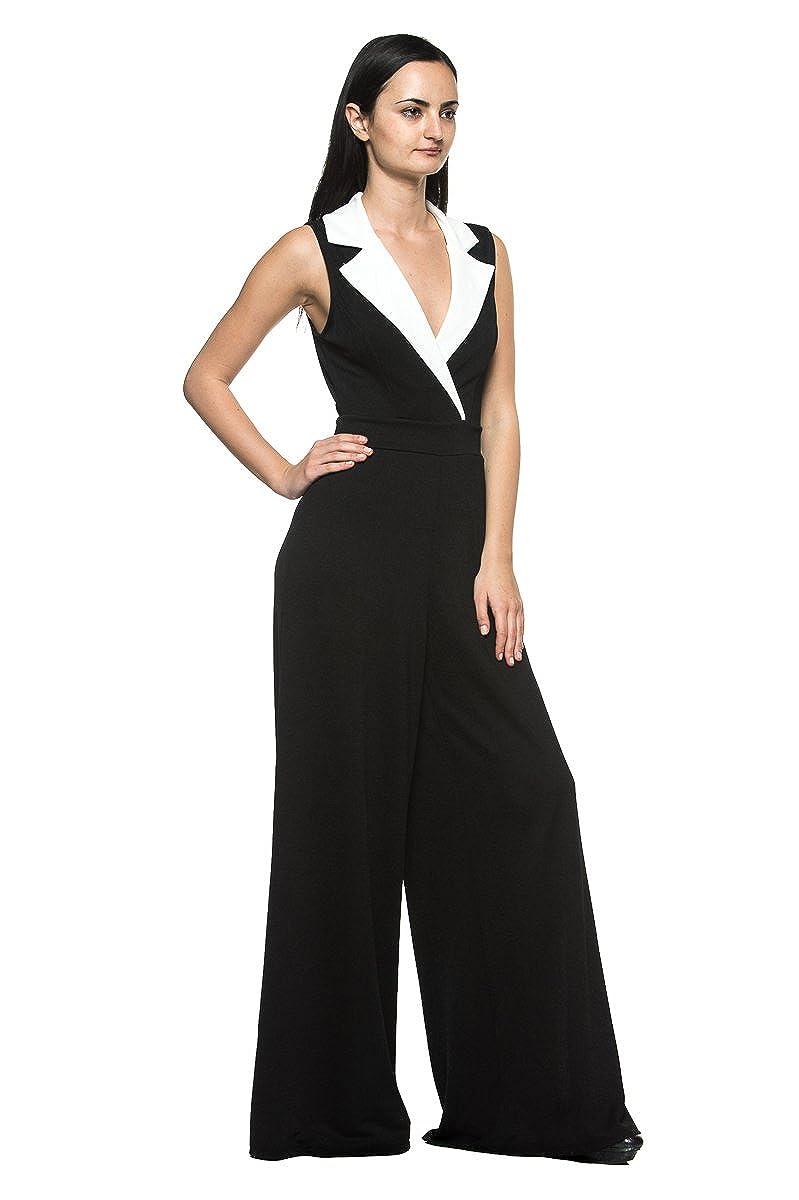 ae5280688d9 Rogue Finery Women s Plus Black White Tuxedo Collar Lapel V Neck Wide Leg  Pant Suit Jumpsuit - Black -  Amazon.co.uk  Clothing