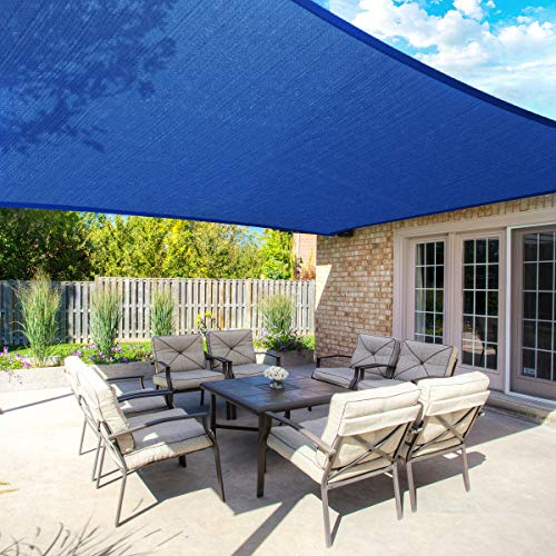 MOVTOTOP 10'x13' Sun Shade Sails Rectangle Canopy Sails Shade, 185 GSM Thicker Outdoor Shade Block 95% UV Keep Cool for Deck, Patio, Pergola, Backyard Outdoor(Blue)