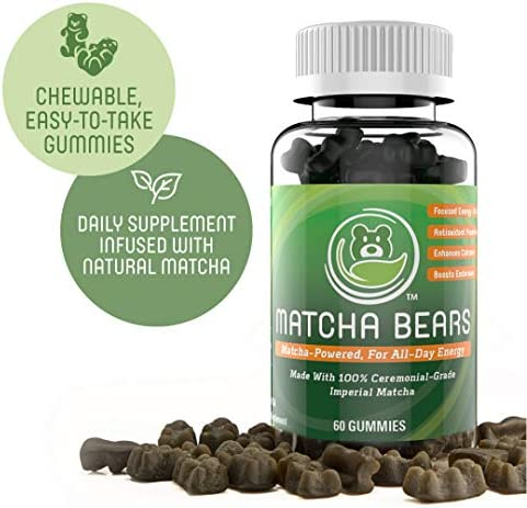 Matcha Bears Matcha Infused Gummy Vitamin Supplement Made with Ceremonial Grade Green Tea Matcha Powder Natural Antioxidant Powerhouse 180 Gummies