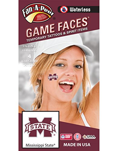Mississippi State University (MSU) Bulldogs – Waterless Peel & Stick Temporary Spirit Tattoos – 4-Piece – Maroon/White M-State Logo