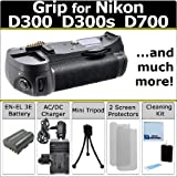 Multi Power Vertical D300 D300s D700 Multi Purpose Battery Grip for Nikon D300 D300s D700 DSLR Camera + EN-EL3E Long Life Battery + AC/DC Turbo Charger w/ Travel Adapter + Complete Deluxe Starter Kit (MB-D10 MB-D10)