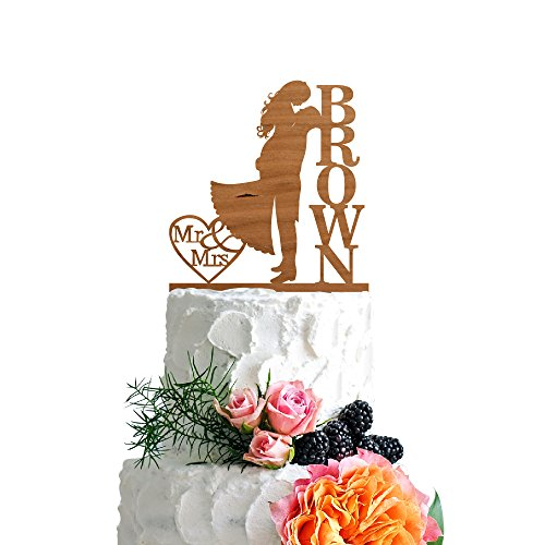 P-Lab-Personalized-Cake-Topper-Mr-Mrs-Last-Name-Custom-Romantic-Hug-Wedding-Cake-Topper-Rustic-Wood-Decoration-Keepsake-Engagement-Favors-for-Special-Event-Cherry-Wood