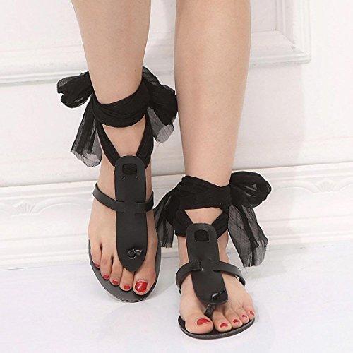 Sinwo Women Summer Beach Sandals Cross Strap Ribbon Flat Ankle Roman Shoes (9, Black)