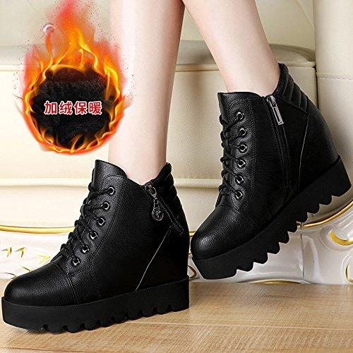 GTVERNH stivali con basse e stivali una invernali le femmina spessa coreano stivali velvet l'aumento scarpe di pendio con single Black suola gli combaciano wrgpaAqw