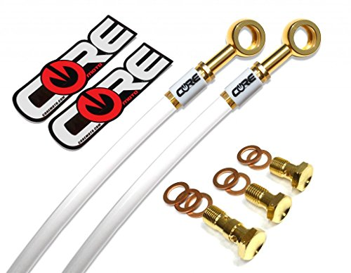 Core Moto - Suzuki SV1000 2003-2007 Performance Front Brake Lines - Solid White lines 24K Gold Plated banjos and bolts White Logo Tags ()