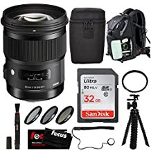 Sigma 50mm F1.4 DG HSM Art Lens for Nikon DSLR Camras with Backpack and Filter Accessory Bundle